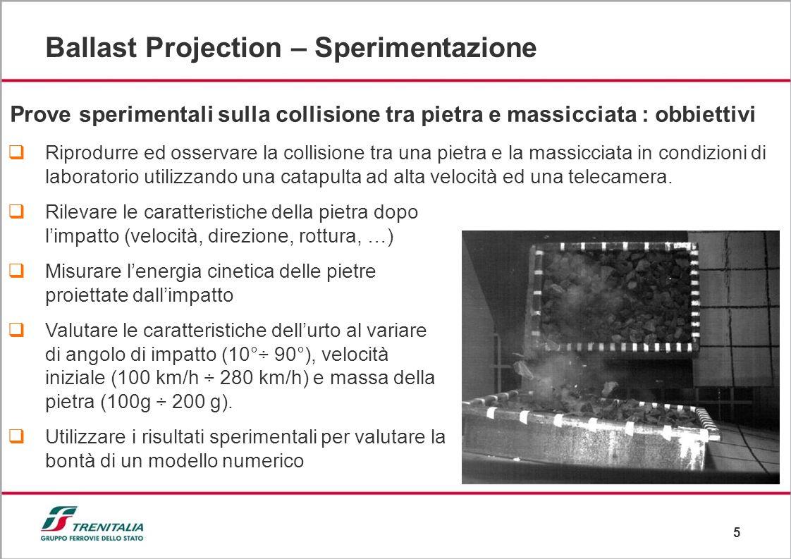 6 Ballast Projection – Sperimentazione Descrizione delle prove (56 test) La fionda lancia una pietra con velocità e angolo variabili La pietra colpisce la massicciata A seguito dellimpatto si alza del pietrisco e alcune pietre possono fratturarsi Una telecamera riprende lintero evento
