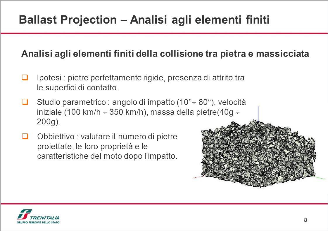 8 Ballast Projection – Analisi agli elementi finiti Analisi agli elementi finiti della collisione tra pietra e massicciata Ipotesi : pietre perfettamente rigide, presenza di attrito tra le superfici di contatto.