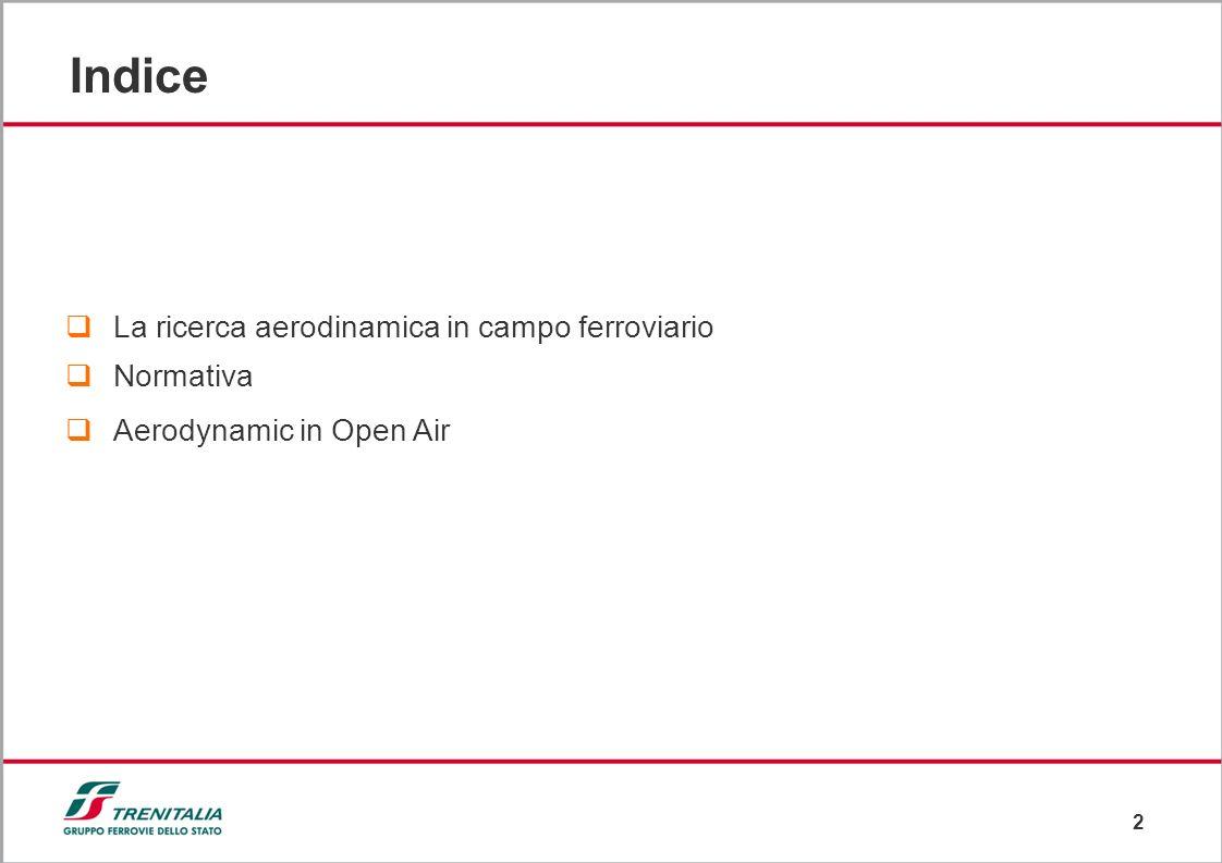 2 Indice La ricerca aerodinamica in campo ferroviario Normativa Aerodynamic in Open Air
