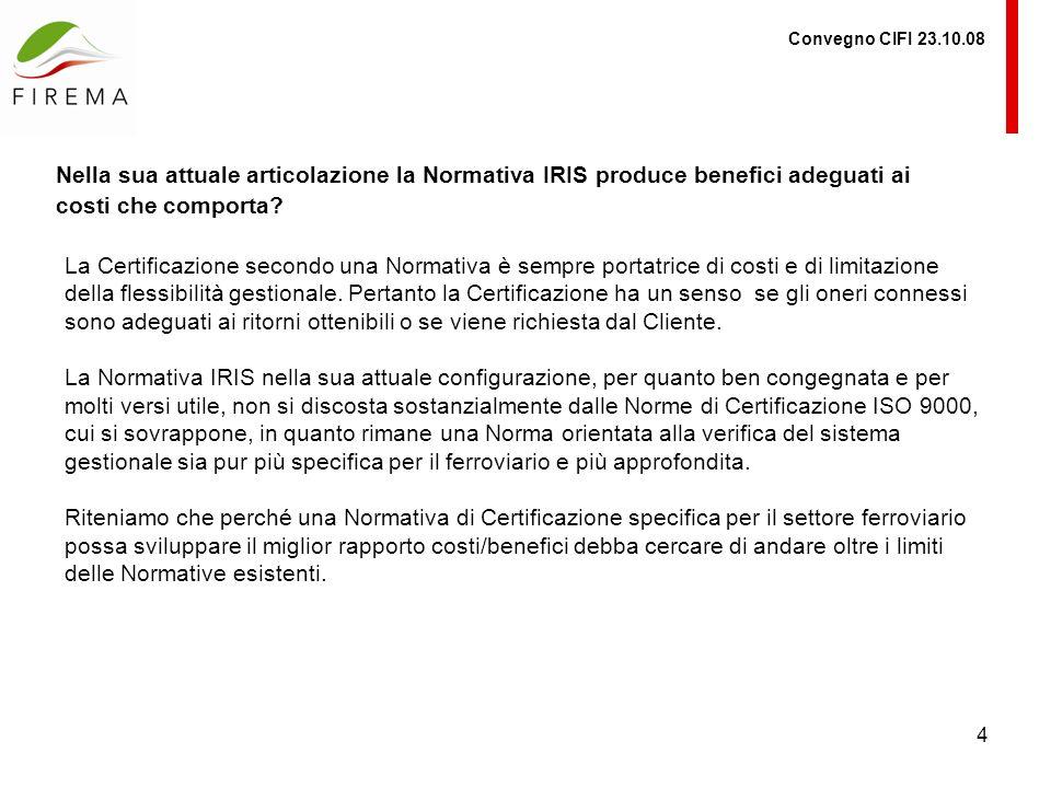 4 Convegno CIFI 23.10.08 Nella sua attuale articolazione la Normativa IRIS produce benefici adeguati ai costi che comporta.