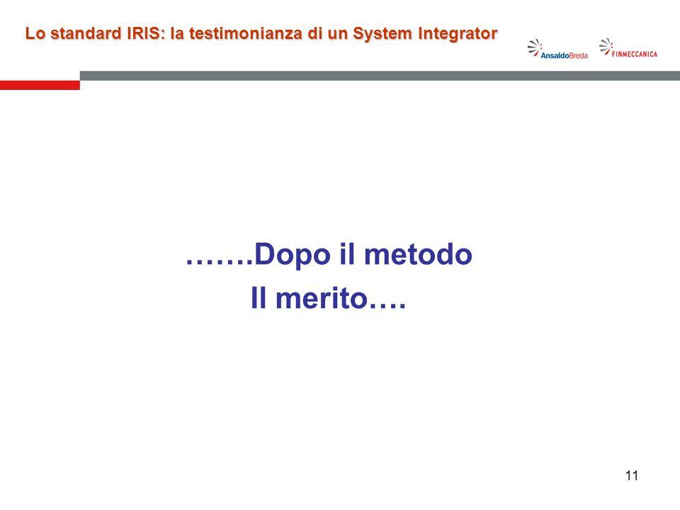 11 …….Dopo il metodo Il merito…. Lo standard IRIS: la testimonianza di un System Integrator