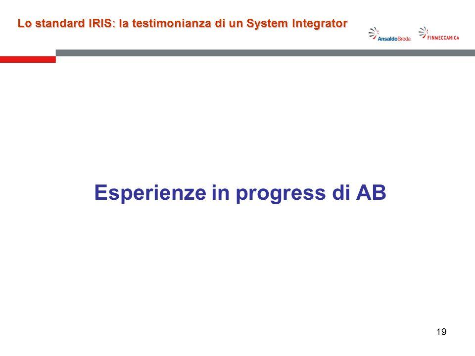 19 Esperienze in progress di AB Lo standard IRIS: la testimonianza di un System Integrator