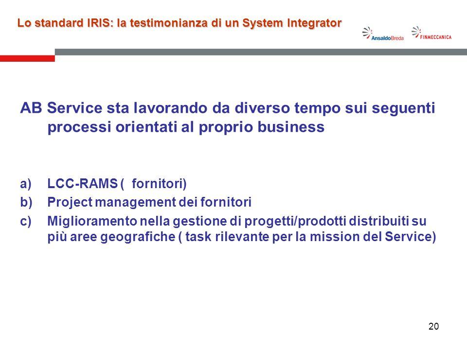 20 AB Service sta lavorando da diverso tempo sui seguenti processi orientati al proprio business a)LCC-RAMS ( fornitori) b)Project management dei forn