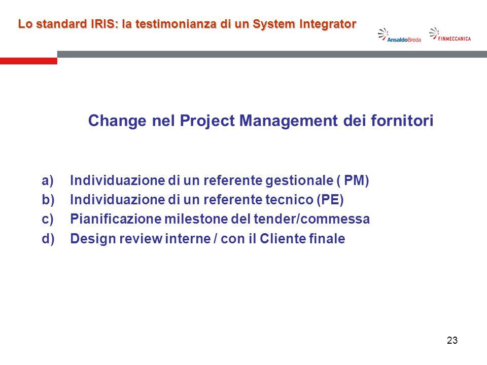 23 Change nel Project Management dei fornitori a)Individuazione di un referente gestionale ( PM) b)Individuazione di un referente tecnico (PE) c)Piani