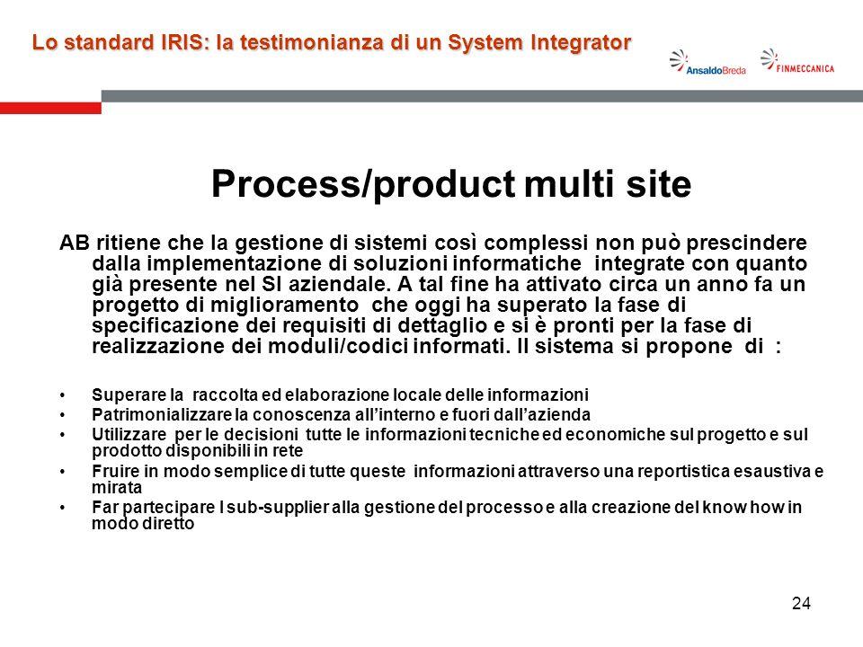 24 Process/product multi site AB ritiene che la gestione di sistemi così complessi non può prescindere dalla implementazione di soluzioni informatiche