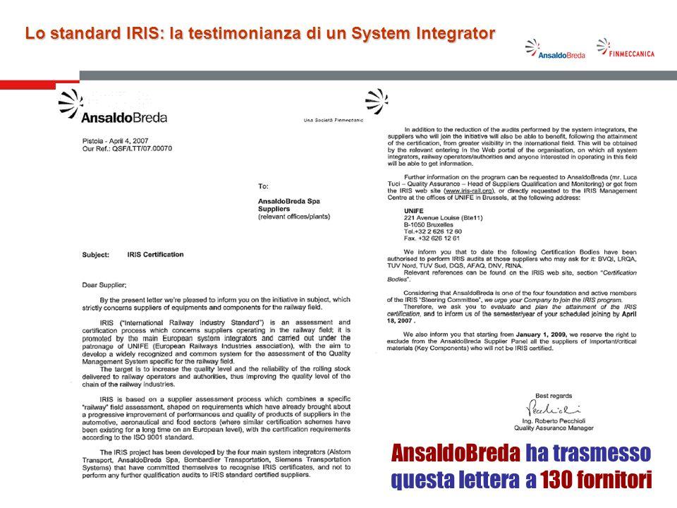 7 Attività in corso (1/4) La certificazione IRIS dello stabilimento AnsaldoBreda di Pistoia è prevista entro il mese di Dicembre 2008.