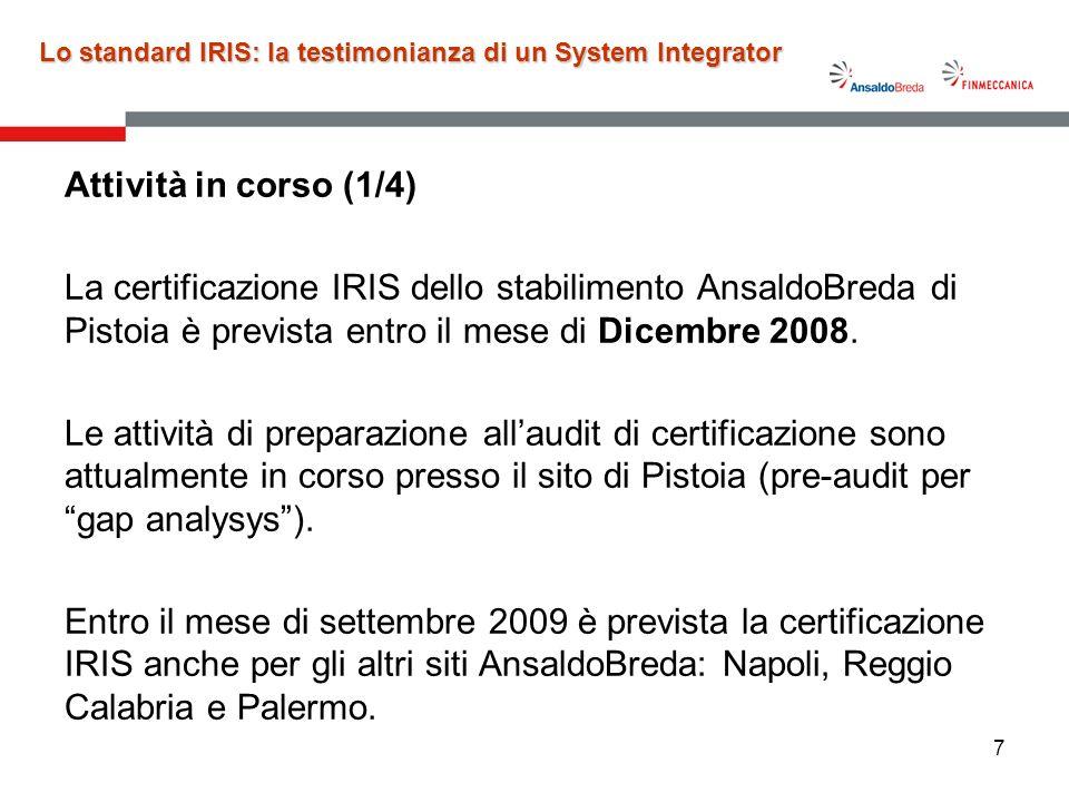 7 Attività in corso (1/4) La certificazione IRIS dello stabilimento AnsaldoBreda di Pistoia è prevista entro il mese di Dicembre 2008. Le attività di