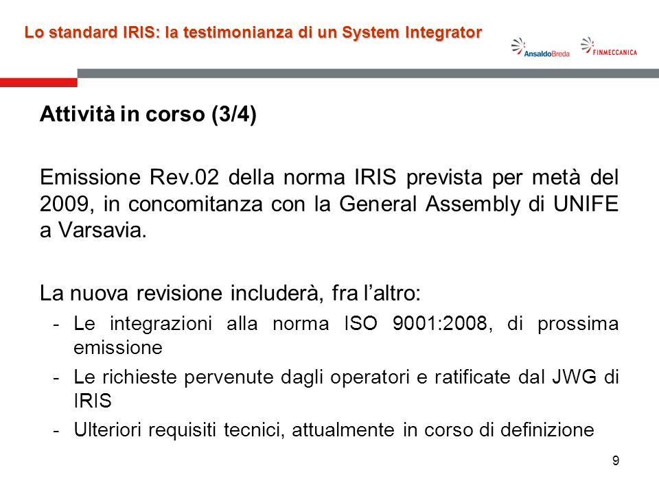 10 Lo standard IRIS: la testimonianza di un System Integrator Attività in corso (4/4) –Supporto alle attività ed alle iniziative sviluppate da IRIS Management Center (IMC).