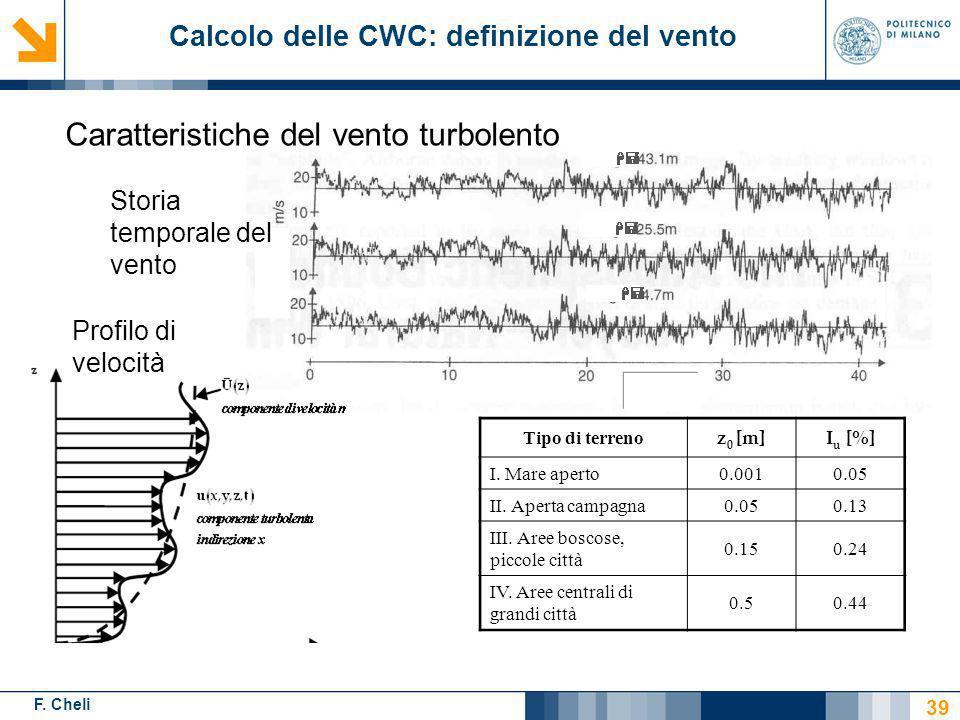 F. Cheli Storia temporale del vento Tipo di terreno z 0 [m]I u [%] I. Mare aperto0.0010.05 II. Aperta campagna0.050.13 III. Aree boscose, piccole citt