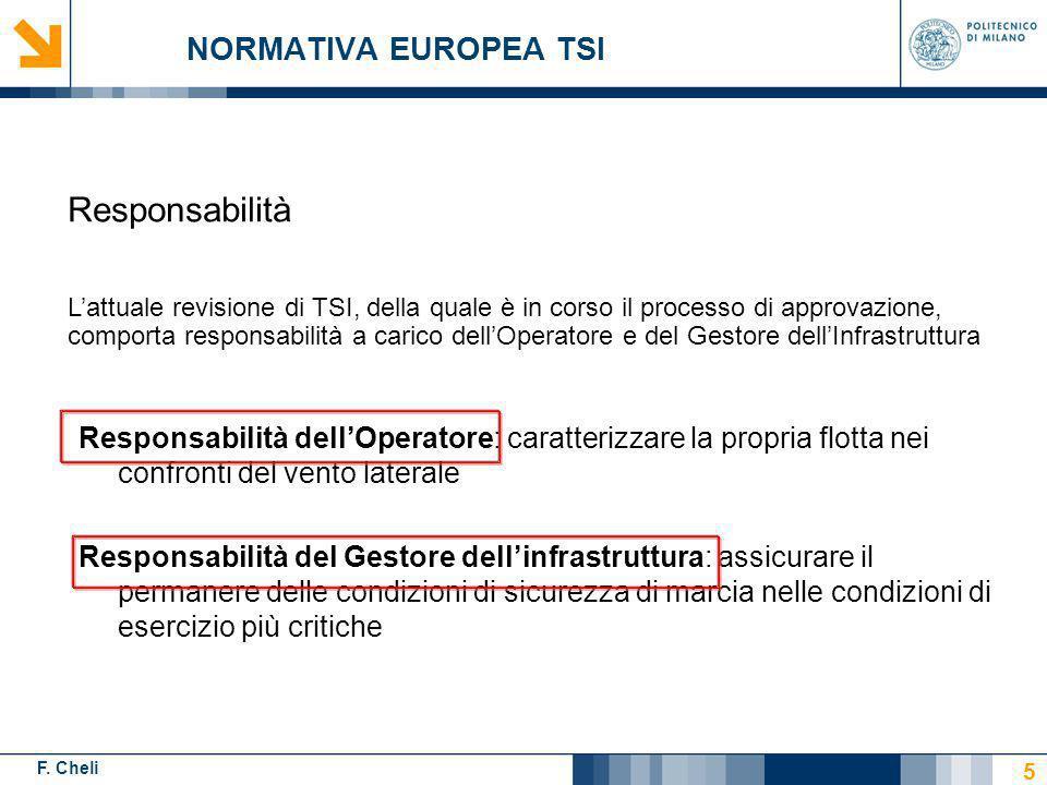 F. Cheli NORMATIVA EUROPEA TSI Responsabilità dellOperatore: caratterizzare la propria flotta nei confronti del vento laterale Responsabilità del Gest