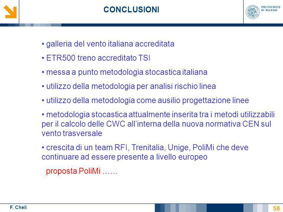 F. Cheli CONCLUSIONI 58 galleria del vento italiana accreditata ETR500 treno accreditato TSI messa a punto metodologia stocastica italiana utilizzo de
