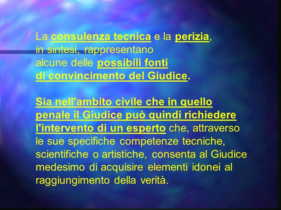 La consulenza tecnica e la perizia, in sintesi, rappresentano alcune delle possibili fonti di convincimento del Giudice.