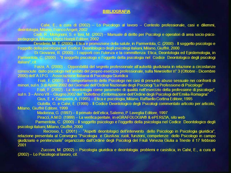 BIBLIOGRAFIA Calvi, E., a cura di (2002) – Lo Psicologo al lavoro – Contesto professionale, casi e dilemmi, deontologia, Milano, Franco Angeli, 2002 · Ciofi, R., Molignoni, S.