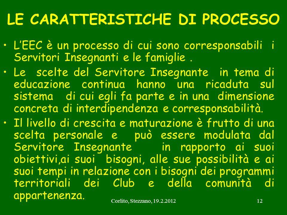 Corlito, Stezzano, 19.2.201212 LE CARATTERISTICHE DI PROCESSO LEEC è un processo di cui sono corresponsabili i Servitori Insegnanti e le famiglie. Le