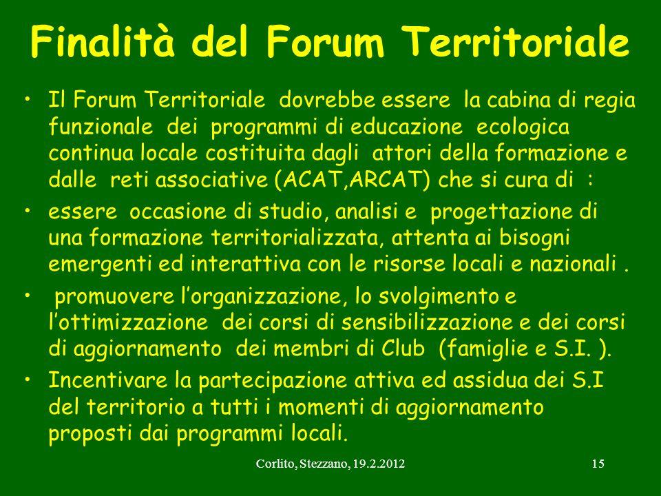 Corlito, Stezzano, 19.2.201215 Finalità del Forum Territoriale Il Forum Territoriale dovrebbe essere la cabina di regia funzionale dei programmi di ed