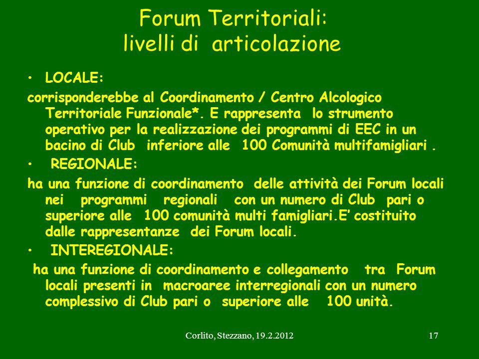 Corlito, Stezzano, 19.2.201217 Forum Territoriali: livelli di articolazione LOCALE: corrisponderebbe al Coordinamento / Centro Alcologico Territoriale
