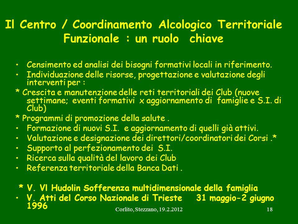 Corlito, Stezzano, 19.2.201218 Il Centro / Coordinamento Alcologico Territoriale Funzionale : un ruolo chiave Censimento ed analisi dei bisogni format