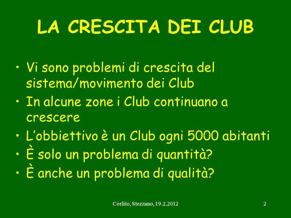 Corlito, Stezzano, 19.2.20122 LA CRESCITA DEI CLUB Vi sono problemi di crescita del sistema/movimento dei Club In alcune zone i Club continuano a cres