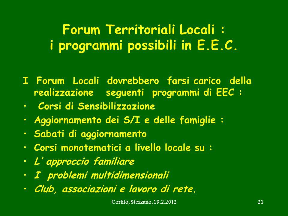 Corlito, Stezzano, 19.2.201221 Forum Territoriali Locali : i programmi possibili in E.E.C. I Forum Locali dovrebbero farsi carico della realizzazione