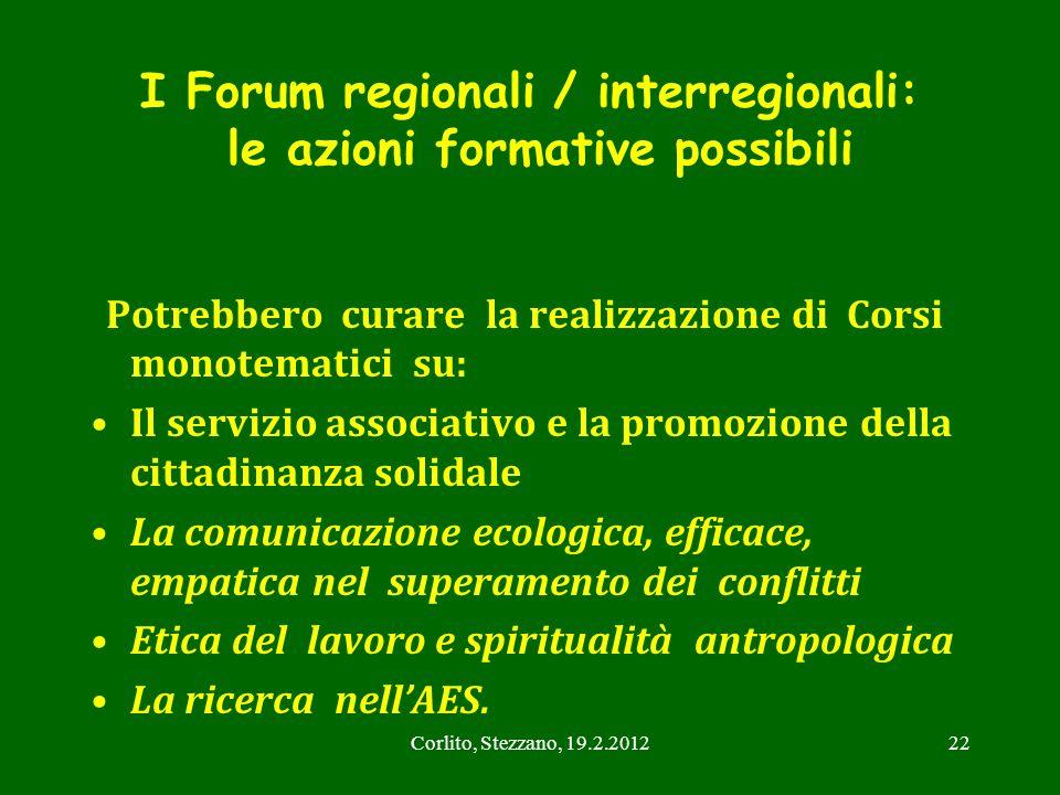 Corlito, Stezzano, 19.2.201222 I Forum regionali / interregionali: le azioni formative possibili Potrebbero curare la realizzazione di Corsi monotemat