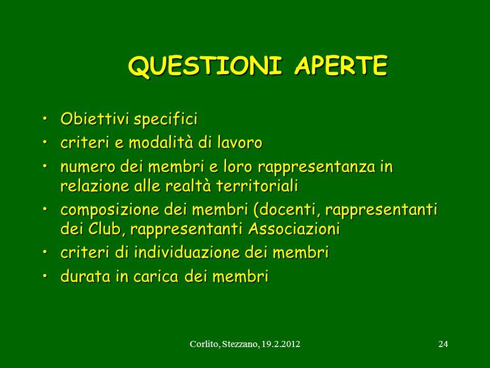 Corlito, Stezzano, 19.2.201224 QUESTIONI APERTE QUESTIONI APERTE Obiettivi specificiObiettivi specifici criteri e modalità di lavorocriteri e modalità