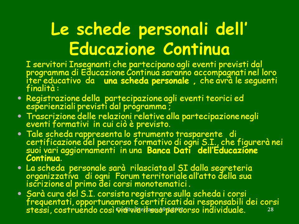 Corlito, Stezzano, 19.2.201228 Le schede personali dell Educazione Continua I servitori Insegnanti che partecipano agli eventi previsti dal programma