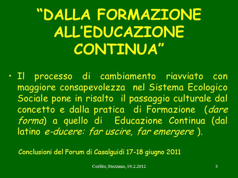 Corlito, Stezzano, 19.2.20123 DALLA FORMAZIONE ALLEDUCAZIONE CONTINUA Il processo di cambiamento riavviato con maggiore consapevolezza nel Sistema Eco
