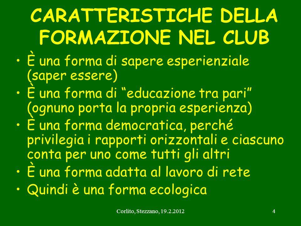 Corlito, Stezzano, 19.2.20124 CARATTERISTICHE DELLA FORMAZIONE NEL CLUB È una forma di sapere esperienziale (saper essere) È una forma di educazione t