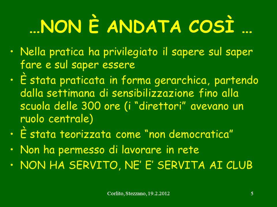 Corlito, Stezzano, 19.2.201216 Forum Territoriale Network Formazione / Educazione Continua (Direttori, Docenti Monotematici e Aggiornamenti ) ACAT /ARCAT