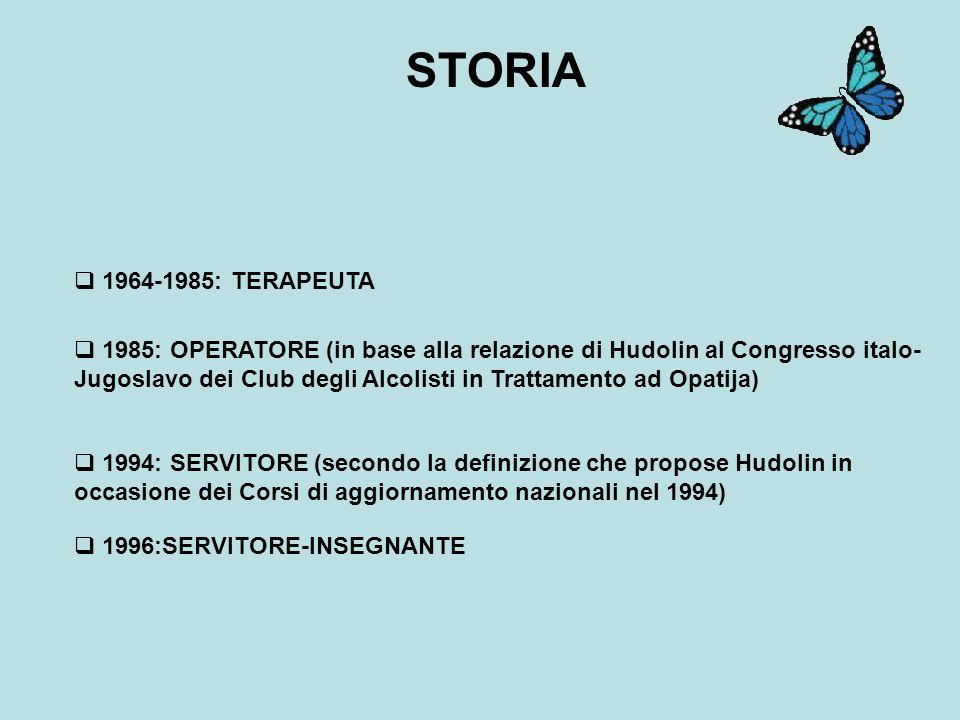 1964-1985: TERAPEUTA 1985: OPERATORE (in base alla relazione di Hudolin al Congresso italo- Jugoslavo dei Club degli Alcolisti in Trattamento ad Opatija) 1994: SERVITORE (secondo la definizione che propose Hudolin in occasione dei Corsi di aggiornamento nazionali nel 1994) 1996:SERVITORE-INSEGNANTE STORIA