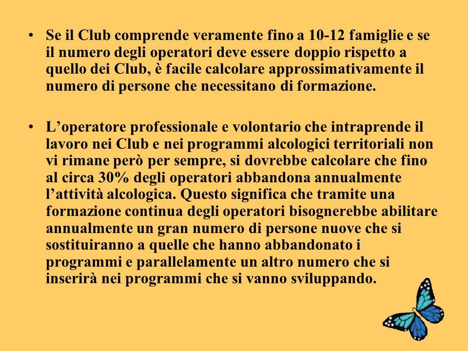 Se il Club comprende veramente fino a 10-12 famiglie e se il numero degli operatori deve essere doppio rispetto a quello dei Club, è facile calcolare approssimativamente il numero di persone che necessitano di formazione.