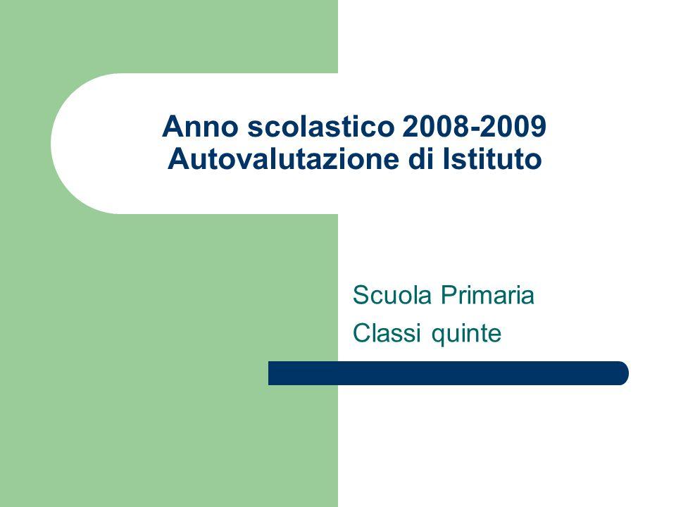 Anno scolastico 2008-2009 Autovalutazione di Istituto Scuola Primaria Classi quinte