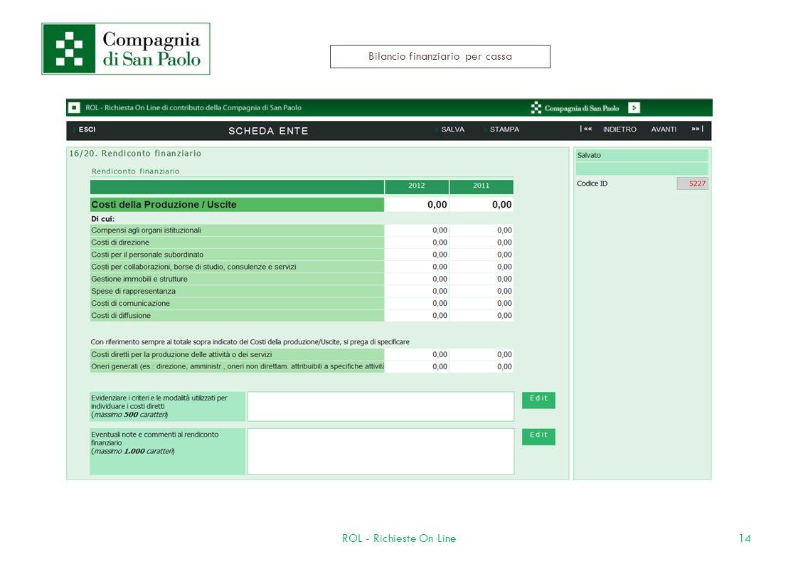14ROL - Richieste On Line Bilancio finanziario per cassa