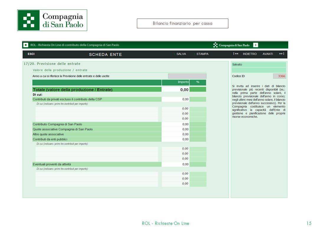 15ROL - Richieste On Line Bilancio finanziario per cassa