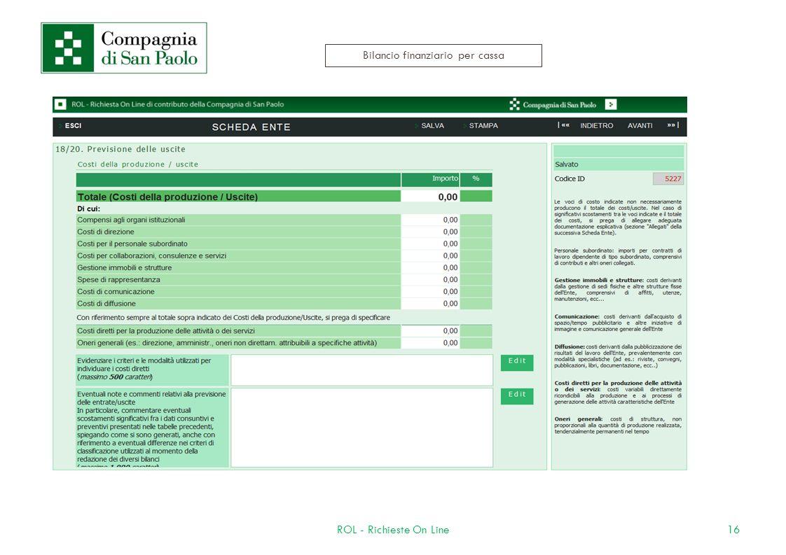 16ROL - Richieste On Line Bilancio finanziario per cassa