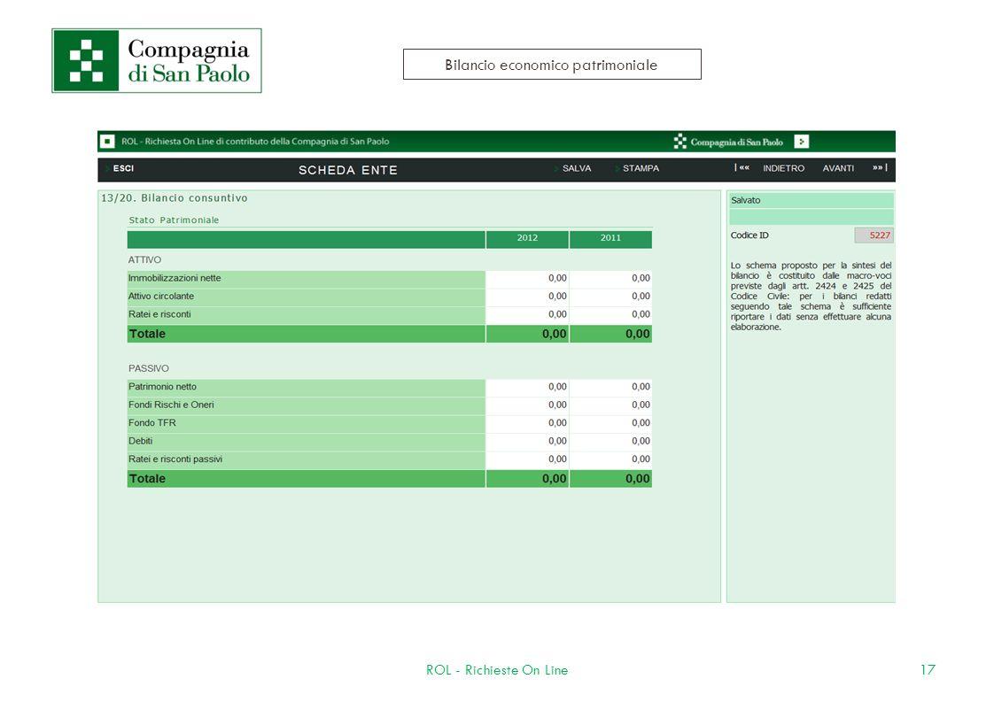 17ROL - Richieste On Line Bilancio economico patrimoniale
