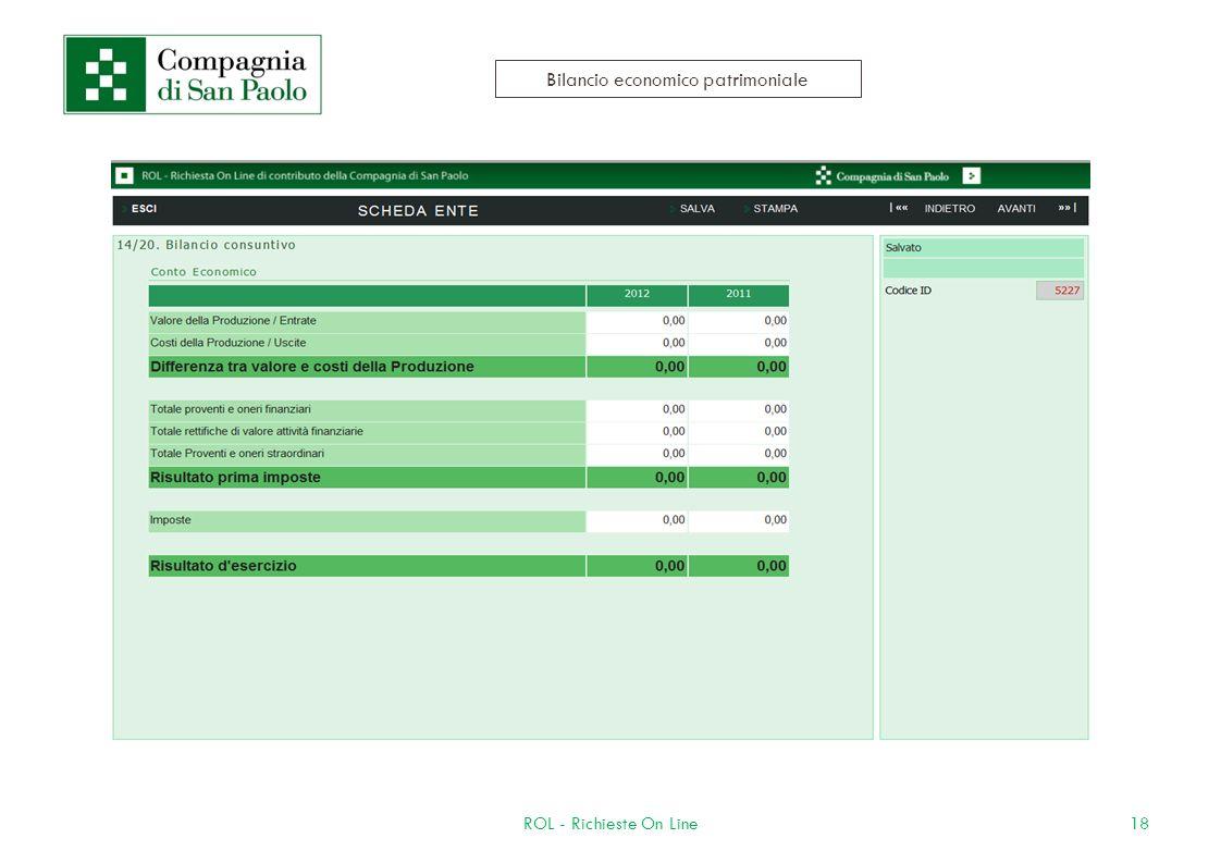 18ROL - Richieste On Line Bilancio economico patrimoniale