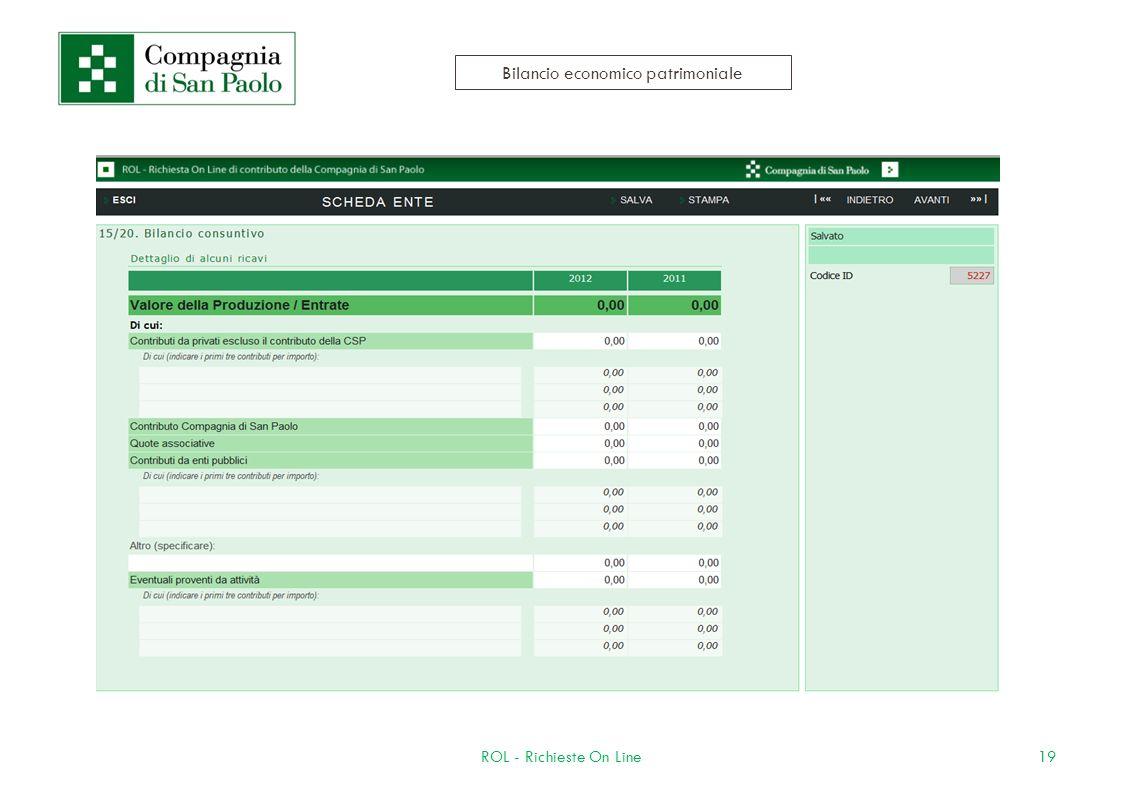 19ROL - Richieste On Line Bilancio economico patrimoniale
