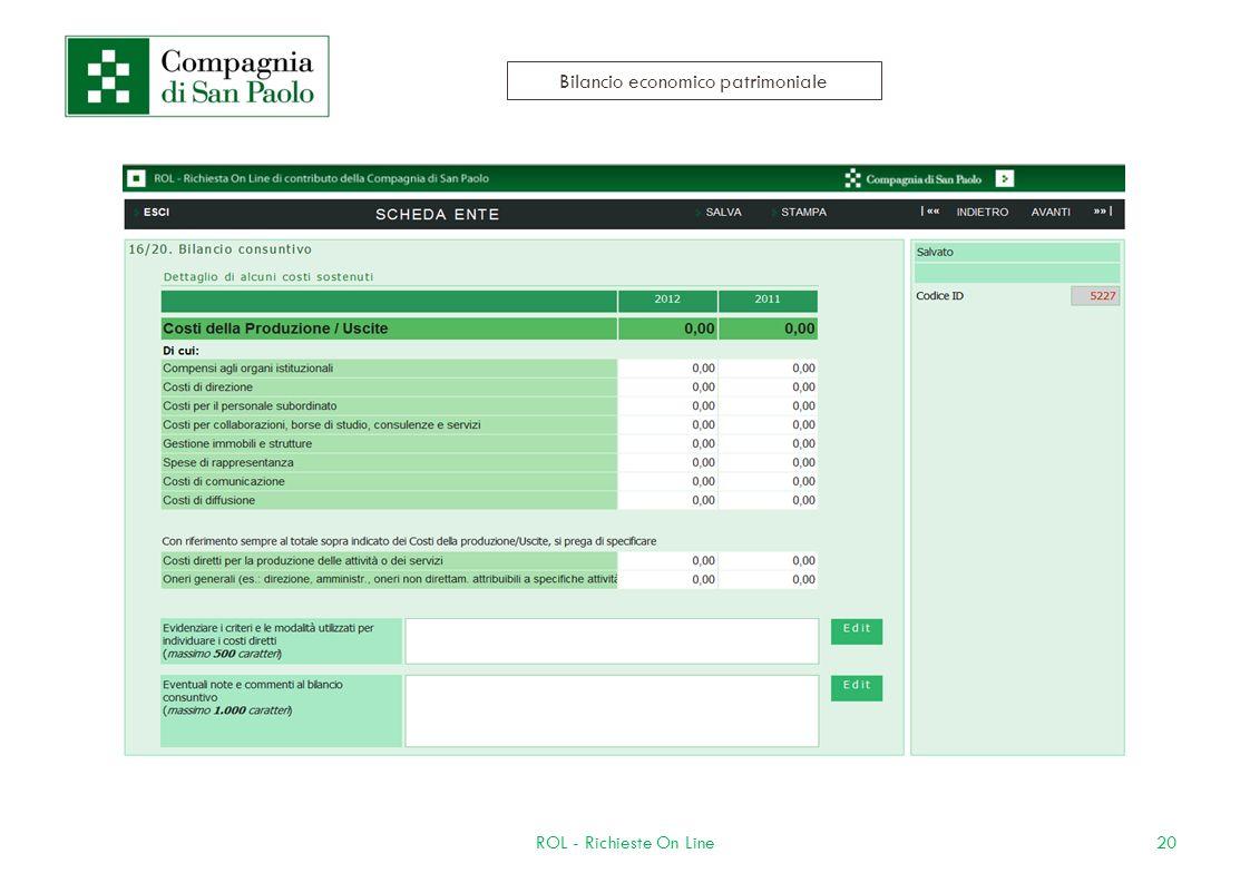 20ROL - Richieste On Line Bilancio economico patrimoniale