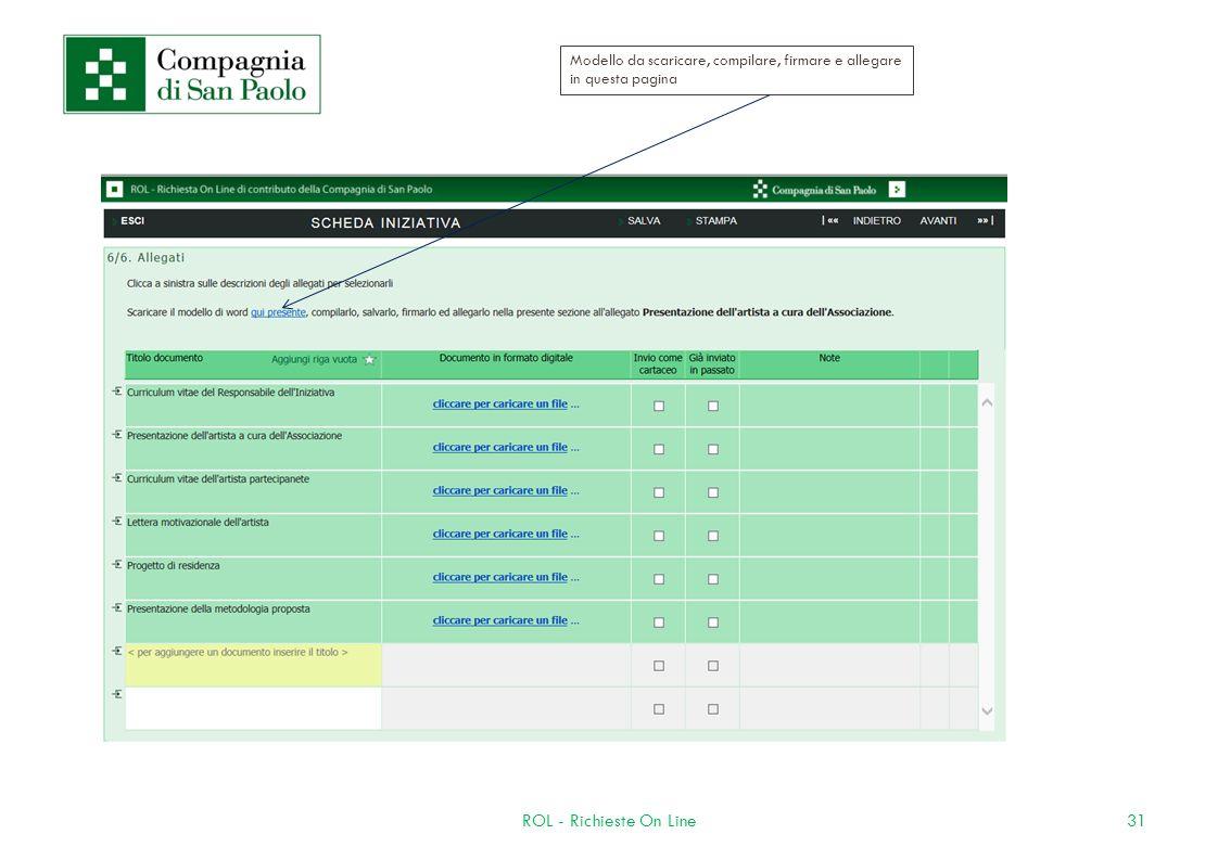 31ROL - Richieste On Line Modello da scaricare, compilare, firmare e allegare in questa pagina