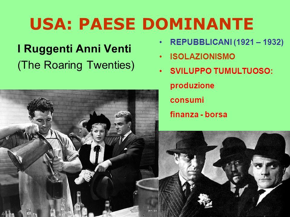 USA: PAESE DOMINANTE I Ruggenti Anni Venti (The Roaring Twenties) REPUBBLICANI (1921 – 1932) ISOLAZIONISMO SVILUPPO TUMULTUOSO: produzione consumi finanza - borsa