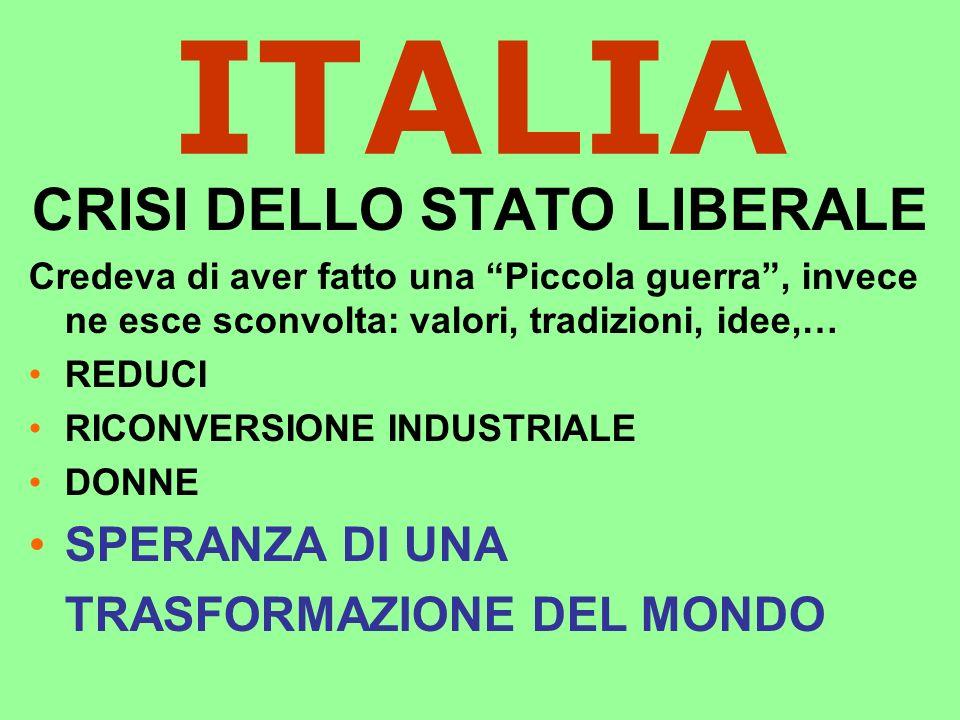 ITALIA CRISI DELLO STATO LIBERALE Credeva di aver fatto una Piccola guerra, invece ne esce sconvolta: valori, tradizioni, idee,… REDUCI RICONVERSIONE INDUSTRIALE DONNE SPERANZA DI UNA TRASFORMAZIONE DEL MONDO