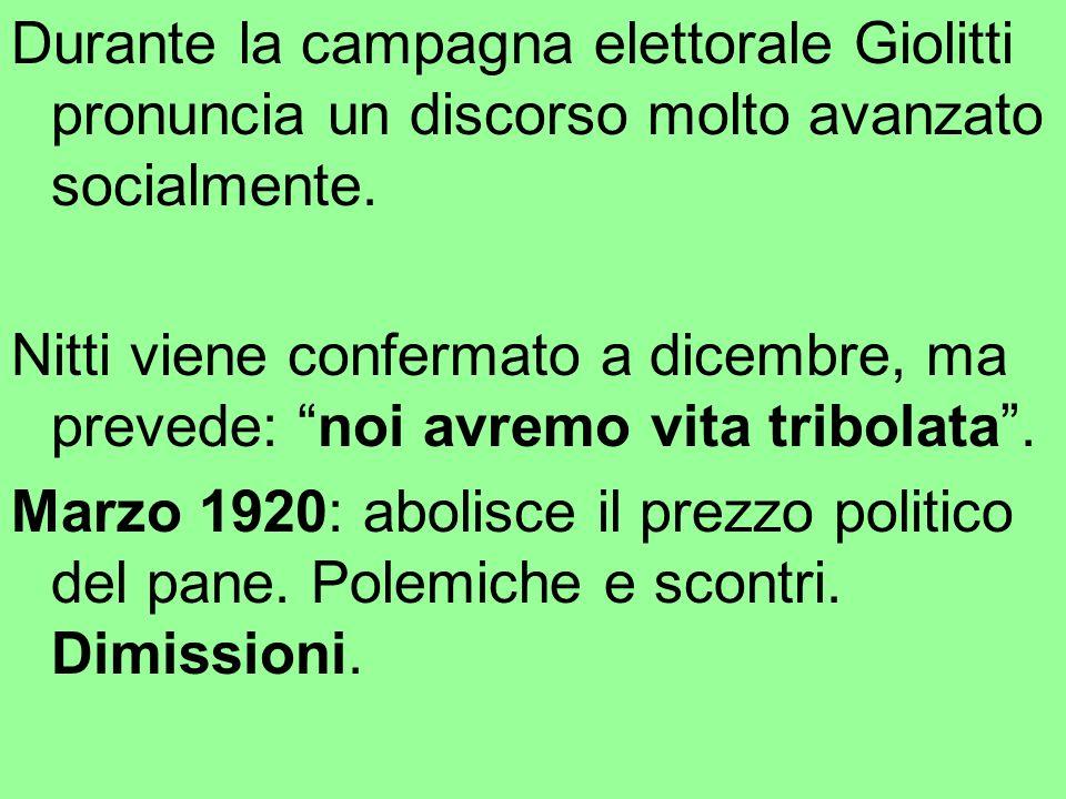 Durante la campagna elettorale Giolitti pronuncia un discorso molto avanzato socialmente.