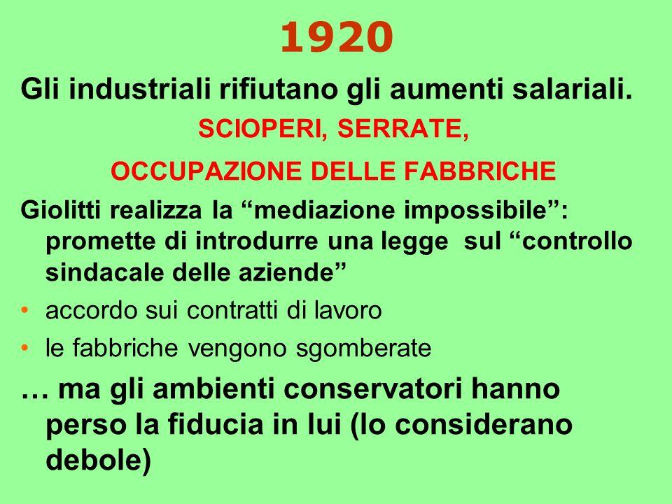 1920 Gli industriali rifiutano gli aumenti salariali.