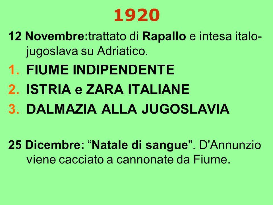 1920 12 Novembre:trattato di Rapallo e intesa italo- jugoslava su Adriatico.
