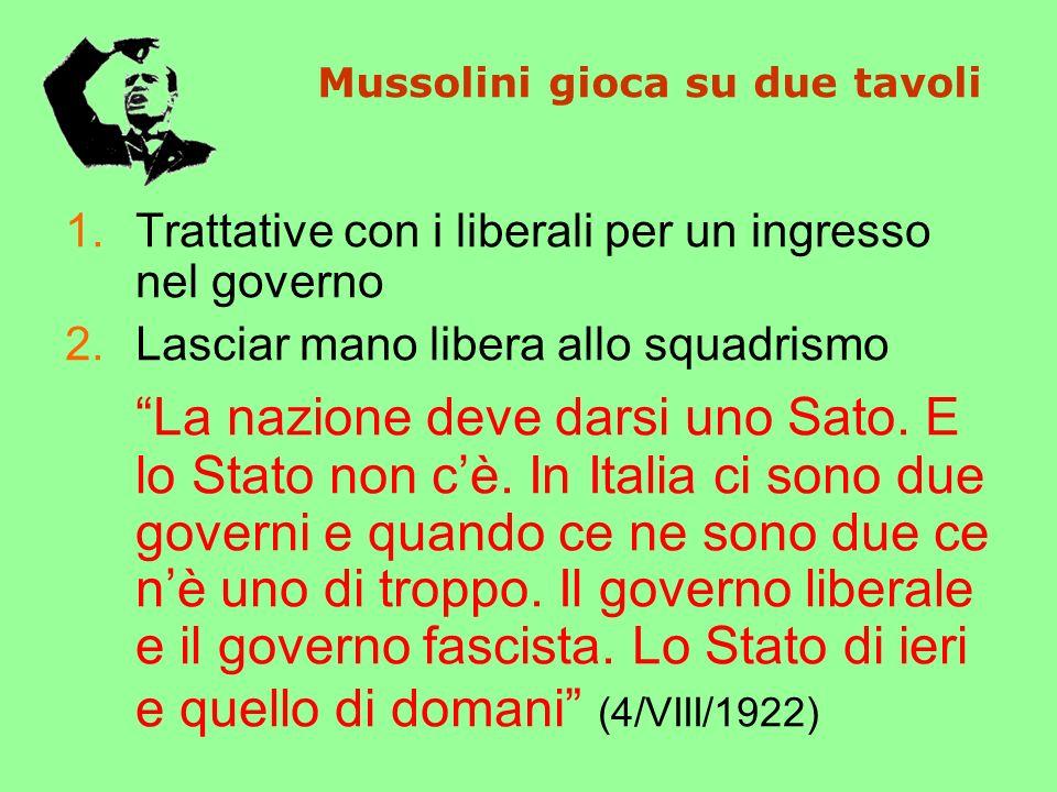 Mussolini gioca su due tavoli 1.Trattative con i liberali per un ingresso nel governo 2.Lasciar mano libera allo squadrismo La nazione deve darsi uno Sato.