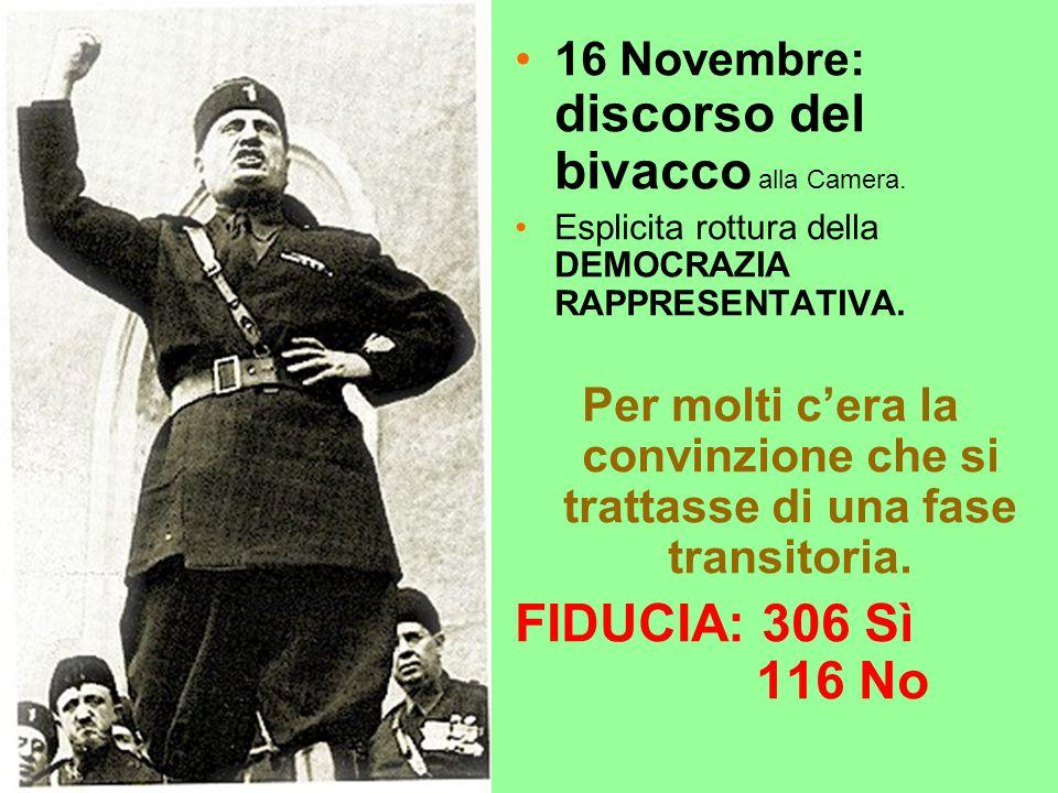 16 Novembre: discorso del bivacco alla Camera.Esplicita rottura della DEMOCRAZIA RAPPRESENTATIVA.