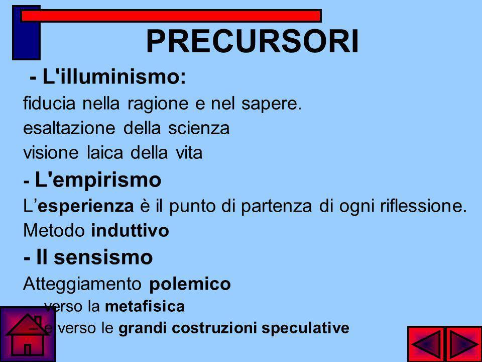 PRECURSORI - L illuminismo: fiducia nella ragione e nel sapere.