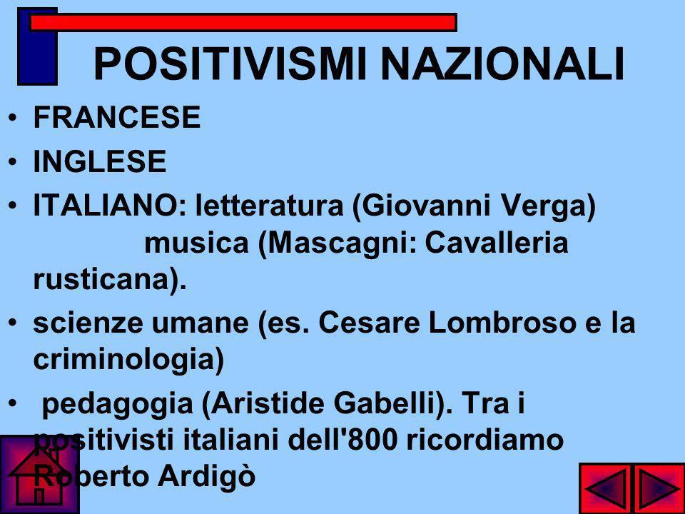 POSITIVISMI NAZIONALI FRANCESE INGLESE ITALIANO: letteratura (Giovanni Verga) musica (Mascagni: Cavalleria rusticana).