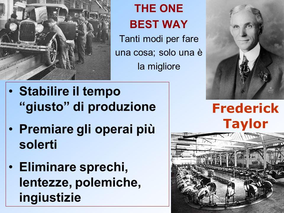 Frederick Taylor THE ONE BEST WAY Tanti modi per fare una cosa; solo una è la migliore Stabilire il tempo giusto di produzione Premiare gli operai più